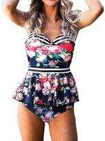Multitrust Women V Neck Strap Boho Floral Peplum Two Piece Swimsuit Hallow Out Back Bathing Suit (L, )