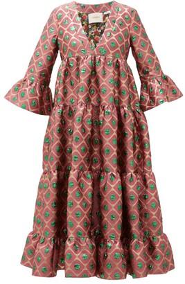 La DoubleJ Jennifer Jane Pomodorini-jacquard Tiered Dress - Womens - Red Print
