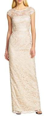 Adrianna Papell Lace Cap-Sleeve Gown