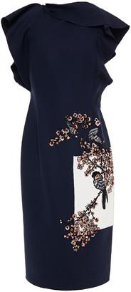 Oscar de la Renta Embellished Embroidered Wool-blend Crepe Dress