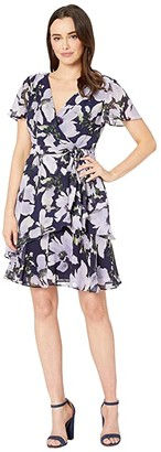 Tahari ASL Short Sleeve Side Tie Printed Chiffon Dress (Lavender/Navy Floral) Women's Dress