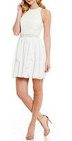 Jodi Kristopher Glitter Lace Bodice Embellished Waist A-line Dress
