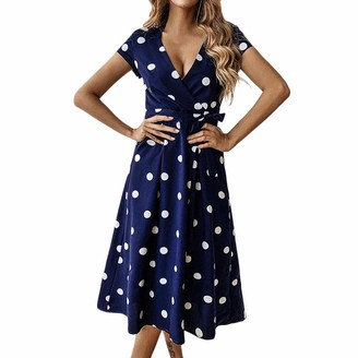 Ulanda Eu Womens Dresses Ulanda-EU Ladies Elegant Dresses Womens Polka Dot Prints Sexy V Neck Short Sleeve Sundress Wedding Guests Evening Party Dress Navy