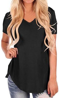 Wanshop Womens Ladies New V Neck Short Sleeve T-Shirt Summer Casual Oversize Loose Baggy Fit T-Shirt Blouse Top (XL