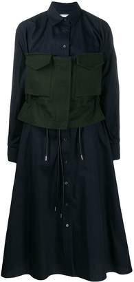 Sacai contrast waist shirt dress