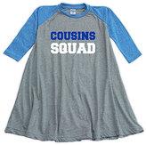 Urban Smalls Heather Blue & Gray 'Cousins' Raglan Dress - Toddler & Girls