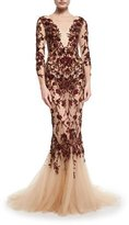 Marchesa Floral Illusion 3/4-Sleeve Gown, Red
