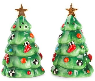 Mackenzie Childs Christmas Carol Tree 2-Piece Salt & Pepper Set