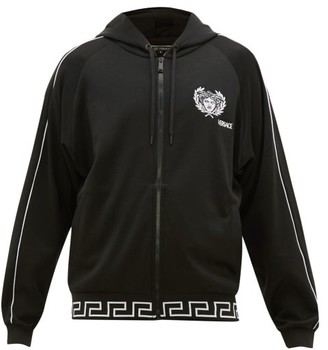 Versace Logo-embroidered Fleeceback Track Jacket - Mens - Black