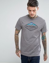 Patagonia Slim Fit T-Shirt With Fitz Roy Crest In Grey Marl