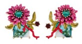 Les Nereides Dazzling Discretion Pink Flower On White And Blue Stone Clip Earrings.