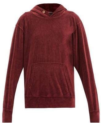LES TIEN Cotton-blend Velour Hooded Sweatshirt - Burgundy
