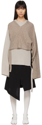 Maison Margiela Brown and Beige Wool Gauge 7 Sweater
