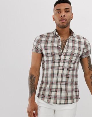 Asos DESIGN slim fit plaid check shirt