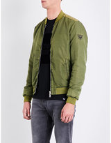Armani Jeans Green Patch-embroide Shell Bomber Jacket