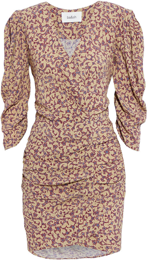 Thumbnail for your product : BA&SH Crystal Ruched Floral-print Crepe Mini Dress