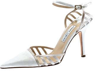 Jimmy Choo White Satin Pointed Toe Slingback Sandals 38