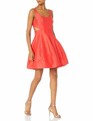 Halston Women's Sleeveless Scoop Neck Silk Faille Dress with Cut Outs
