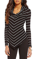 I.N. Studio Cowl Neck Long Sleeve Stripe Top