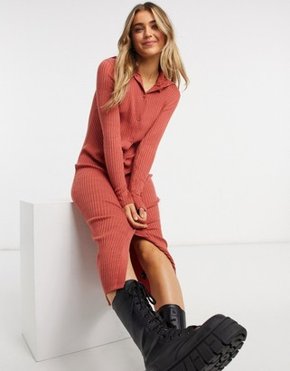 Monki Katja ribbed midi shirt dress in red