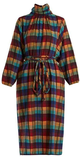 Ace&Jig Stevie Check Print High Neck Cotton Dress - Womens - Multi