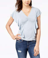American Rag Juniors' Ruched Ruffle-Sleeve Top, Created for Macy's