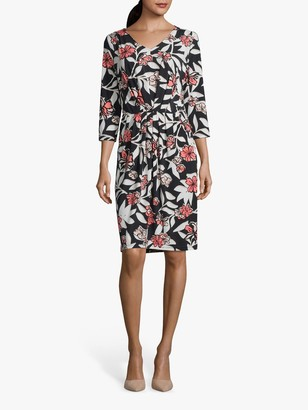 Betty Barclay Floral V-Neck 3/4 Length Sleeve Dress, Dark Blue/Rose