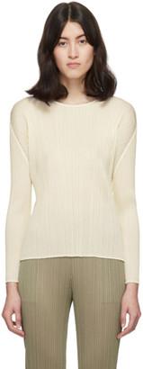 Pleats Please Issey Miyake Off-White Pleats Crewneck Pullover
