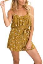 Glamaker Women's Summer Strap Boho Mini Rompers Floral Ruffles Playsuit