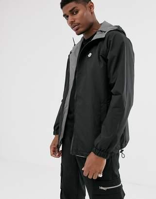 Bershka reflective reversible hooded windbreaker jacket in grey-Silver