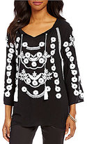 Intro Petites 3/4 Sleeve Rayon Gauze Embroidered Peasant Top