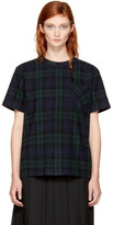 Sacai Navy and Green Plaid Pleated T-shirt