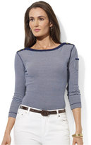 Lauren Ralph Lauren Petite Three-Quarter-Sleeve Striped Top