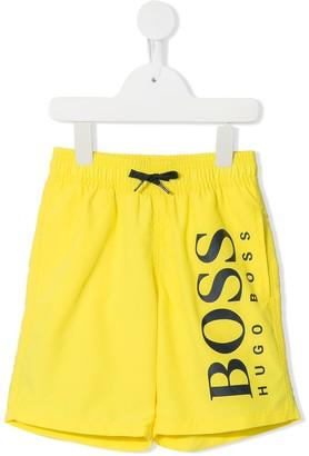 Boss Kids Logo Print Swim Shorts