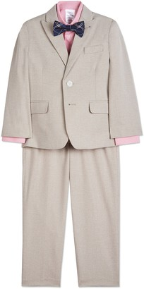 Calvin Klein Subtle Heather Pinstripe Suit Set (Toddler & Little Boys)