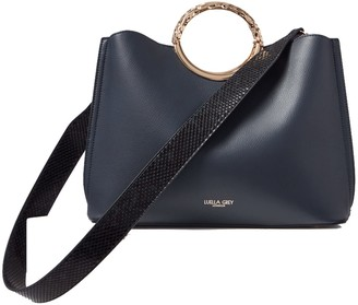 Olivia Navy Triple Compartment Tote With Shoulder Strap
