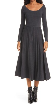 La Ligne Long Sleeve Pleated Merino Wool Blend Dress