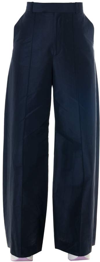 Celine Blue Linen-cotton Blend Palazzo Trousers