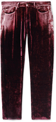Saint Laurent Skinny-Fit Velvet Trousers - Men - Burgundy