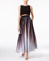 Betsy & Adam Petite Ombre Illusion Popover Gown