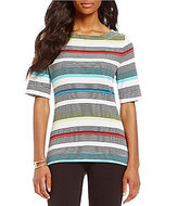 Westbound Petites Elbow Sleeve Boat Neck Top
