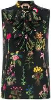 No.21 floral print sleeveless blouse