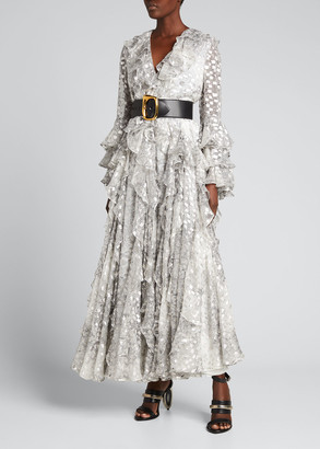 Alexander McQueen Printed Fil Coupe Ruffle Gown