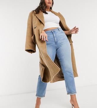 ASOS DESIGN Curve high rise farleigh 'slim' mom jeans in stonewash