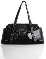 Tod's Tods Black Leather Trim Suede Medium Flap Shoudler Handbag