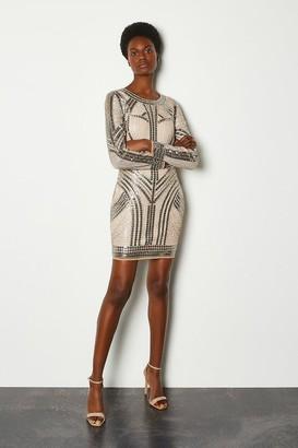 Karen Millen Beaded Long Sleeve Bodycon Dress