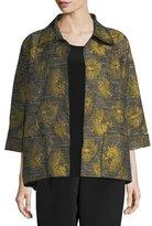 Floral Interest Jacquard Jacket, Plus Size