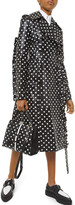Michael Kors Polka-Dotted Leather Ruffle-Seam Trench Coat