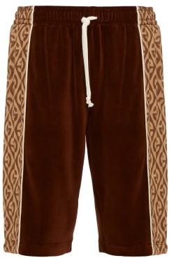 Gucci Logo-stripe Velour Shorts - Mens - Brown