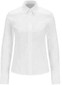 HUGO BOSS Slim Fit Blouse With Darted Seam Detail - White